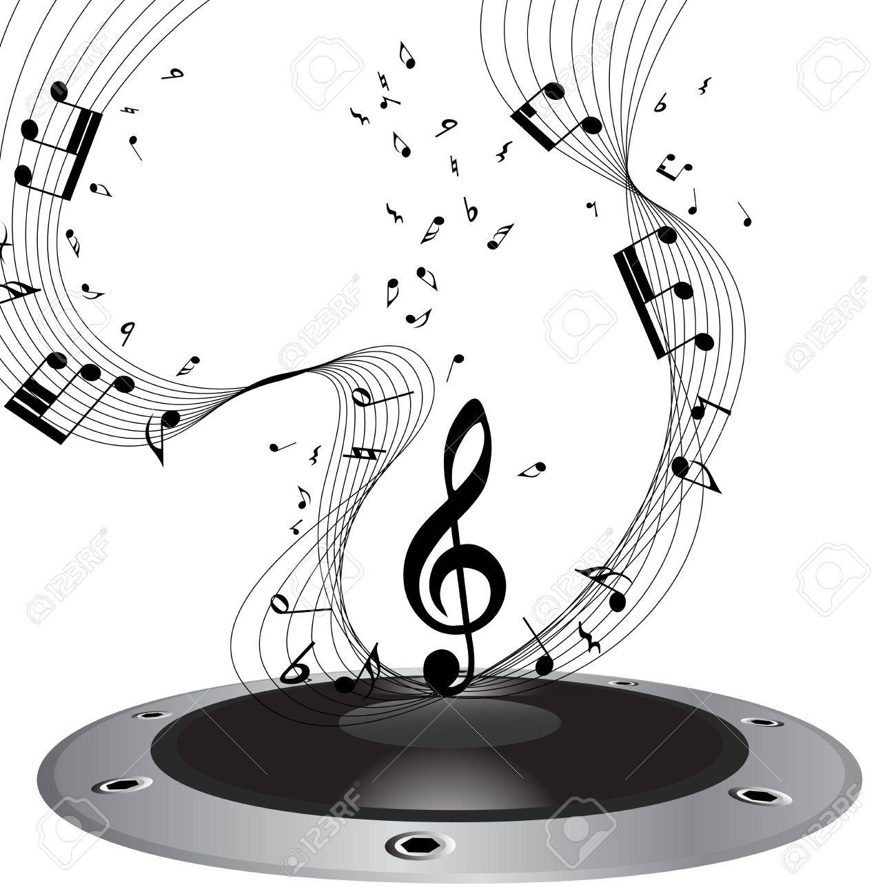 Musical Note Staff Illustration Without Transparency Royalty Free