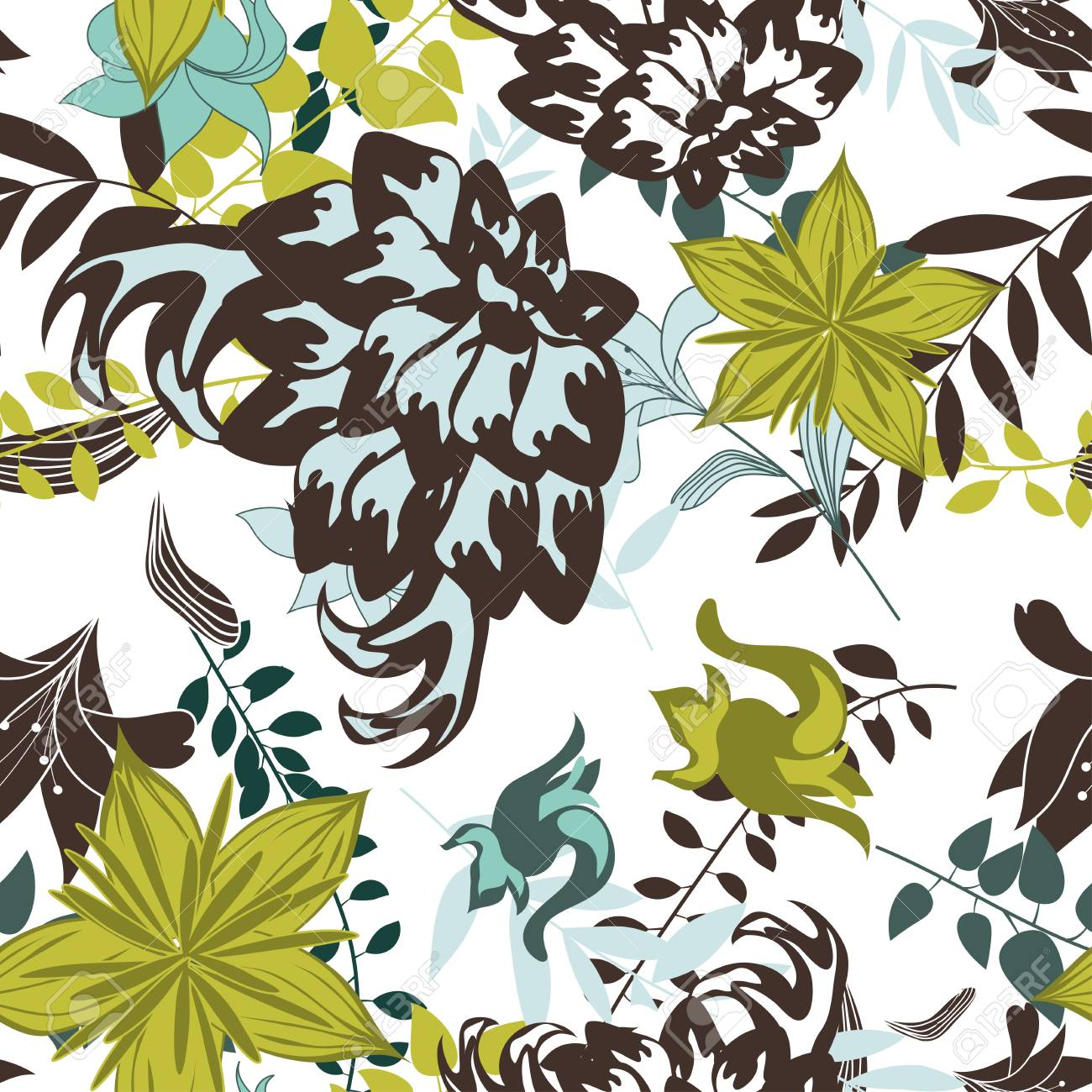 Seamless vector floral pattern. For easy making seamless pattern just drag all group into swatches bar, and use it for filling any contours. EPS 10. Stock Vector - 22971993