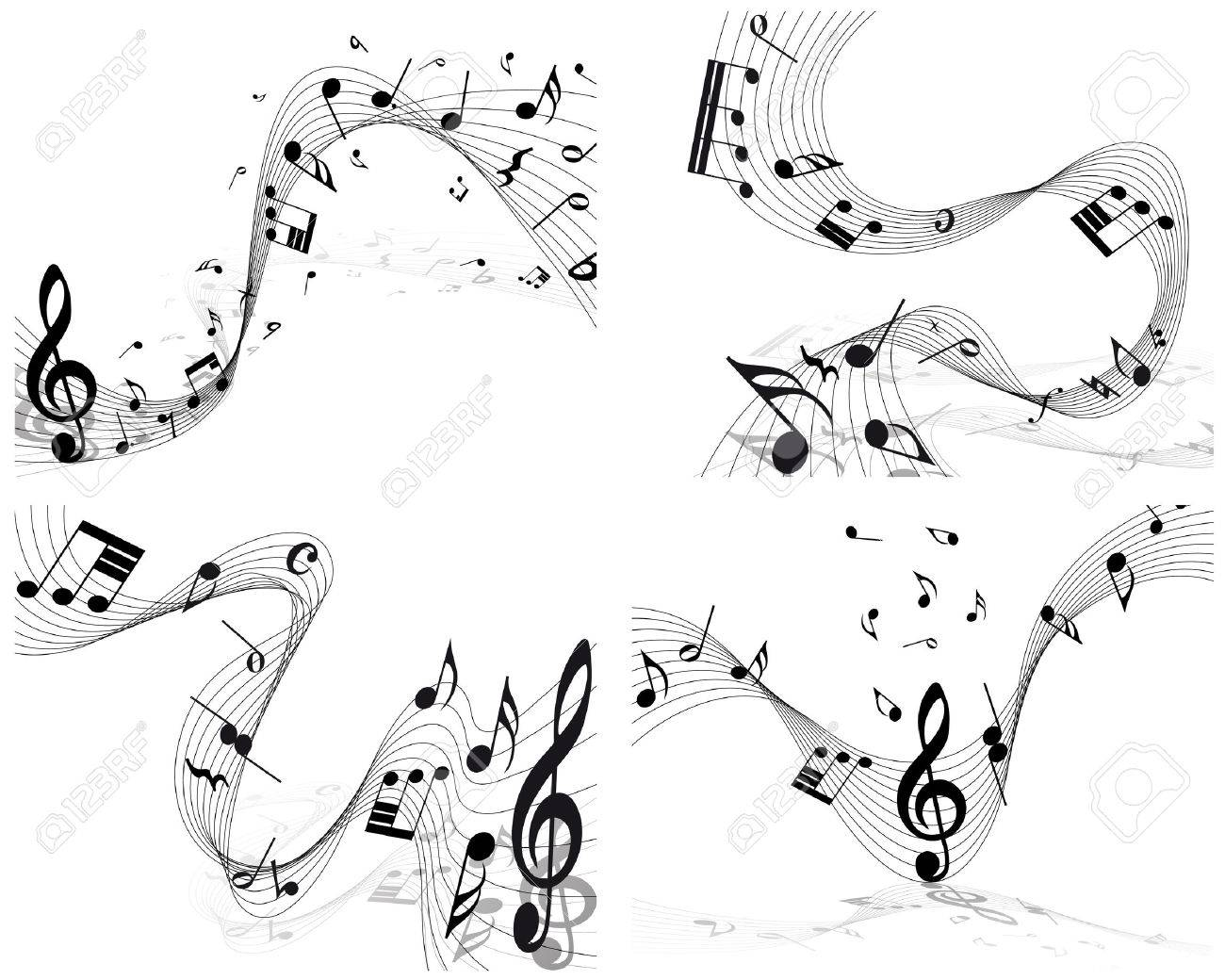 Musical note staff set. EPS 10 vector illustration without transparency. Stock Vector - 22972040