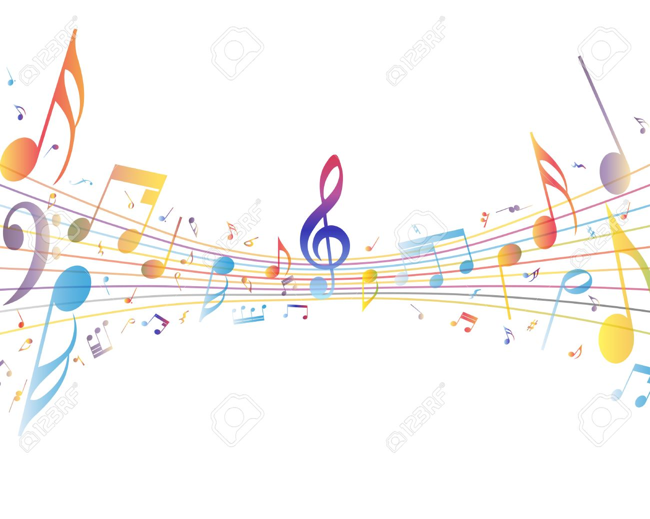 Multicolor musical note staff background. Vector illustration EPS 10 with transparency. - 29578831