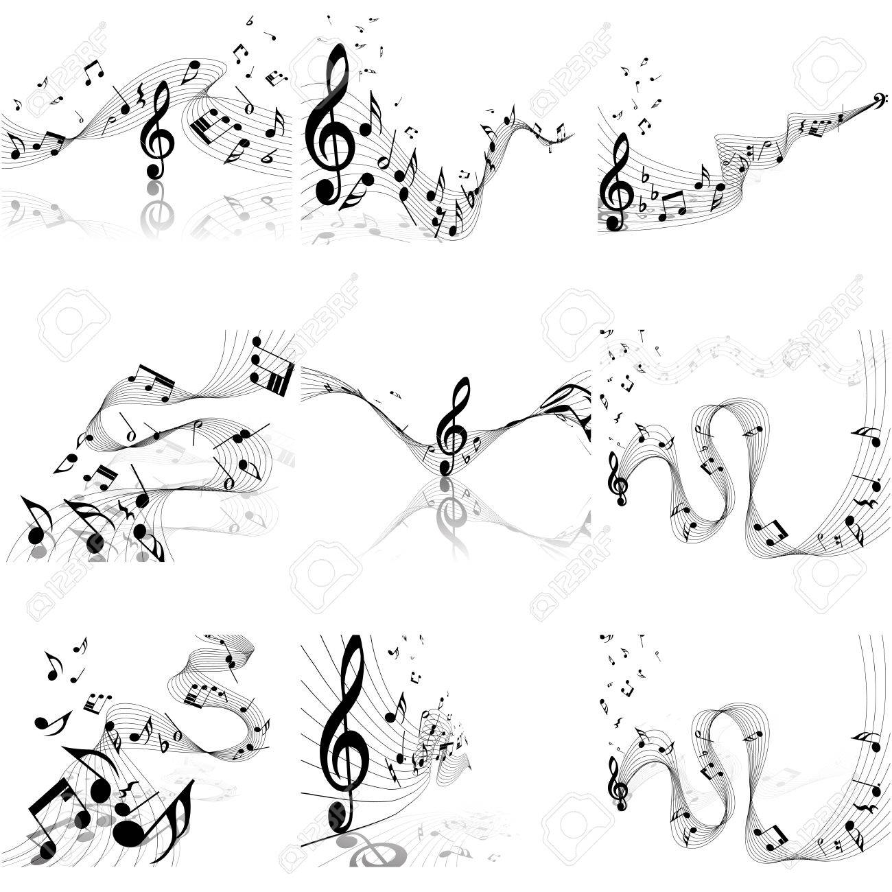 Musical Notes Staff Set Vector Illustration With Transparency