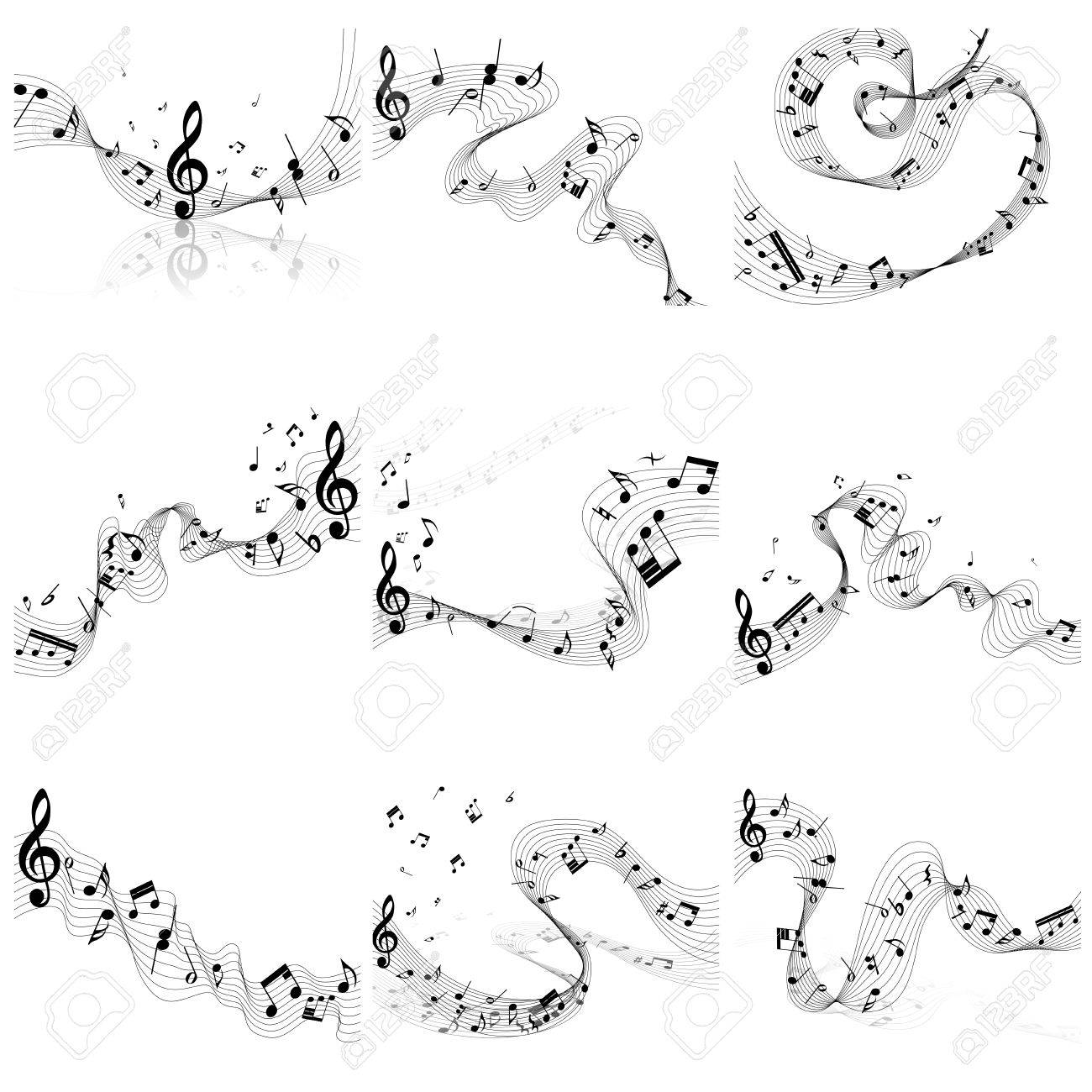 Musical Notes Staff Set Vector Illustration Without Transparency