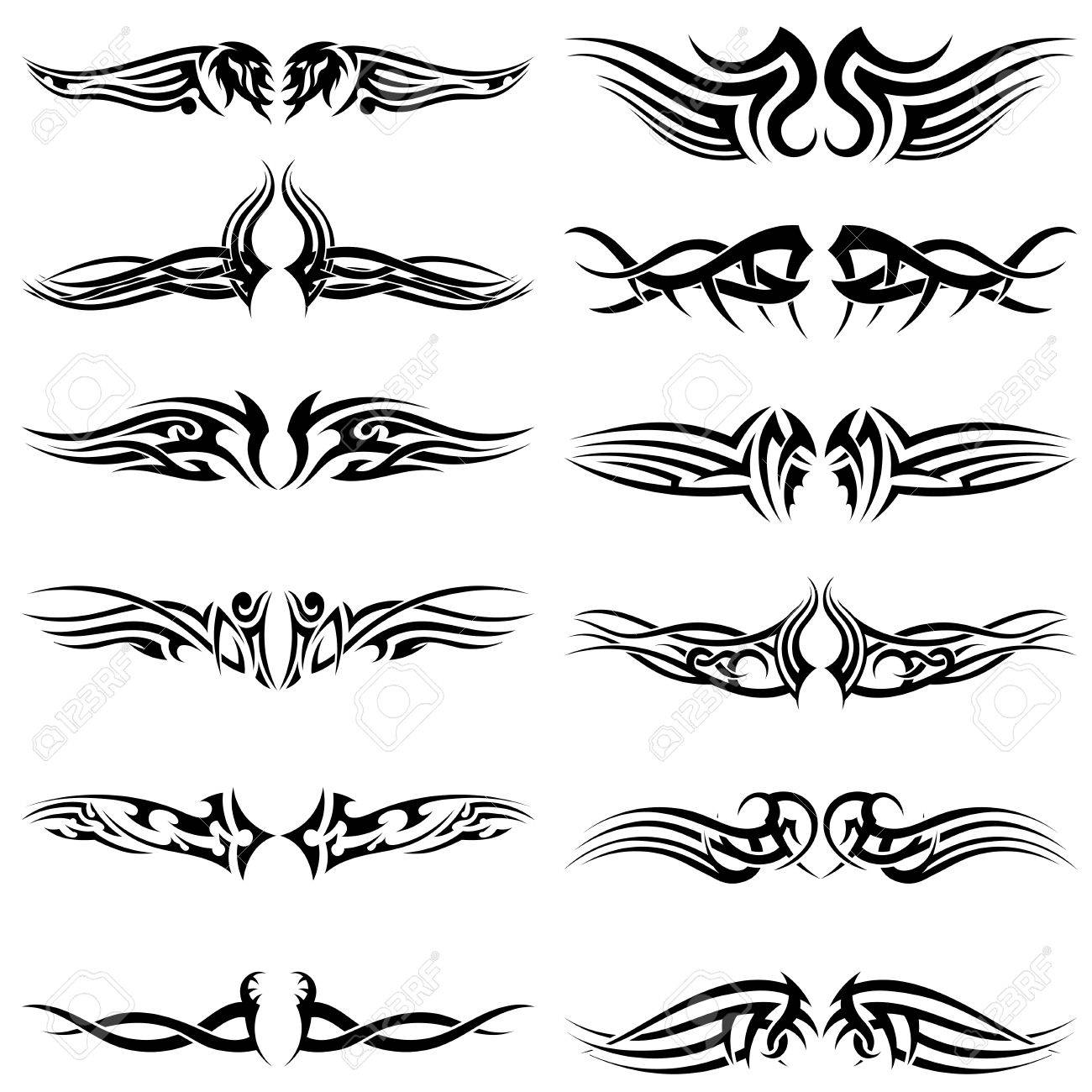 Set of tribal tattoos. EPS 10 vector illustration without transparency. - 36206729