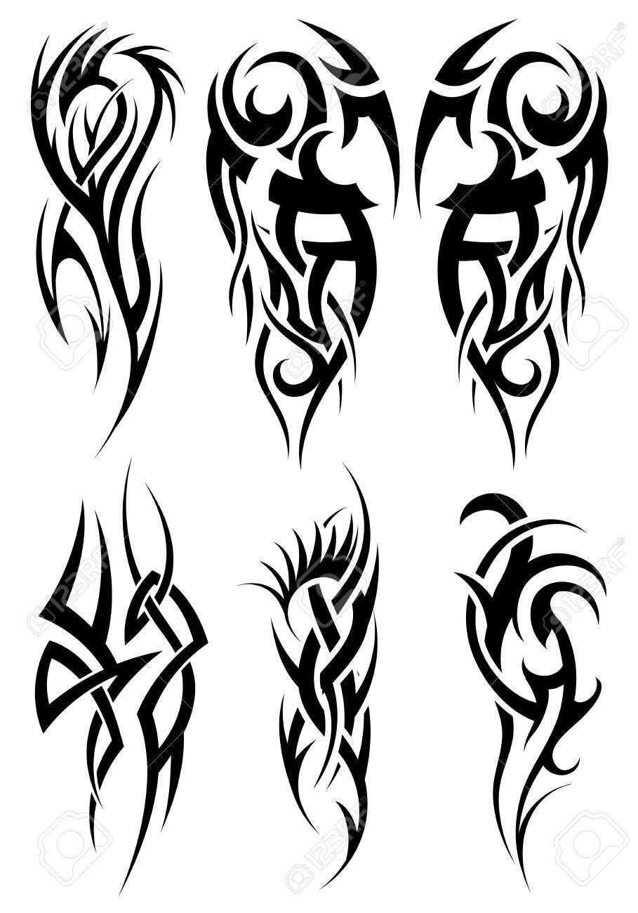 Set Of Tribal Tattoos Eps 10 Vector Illustration Without