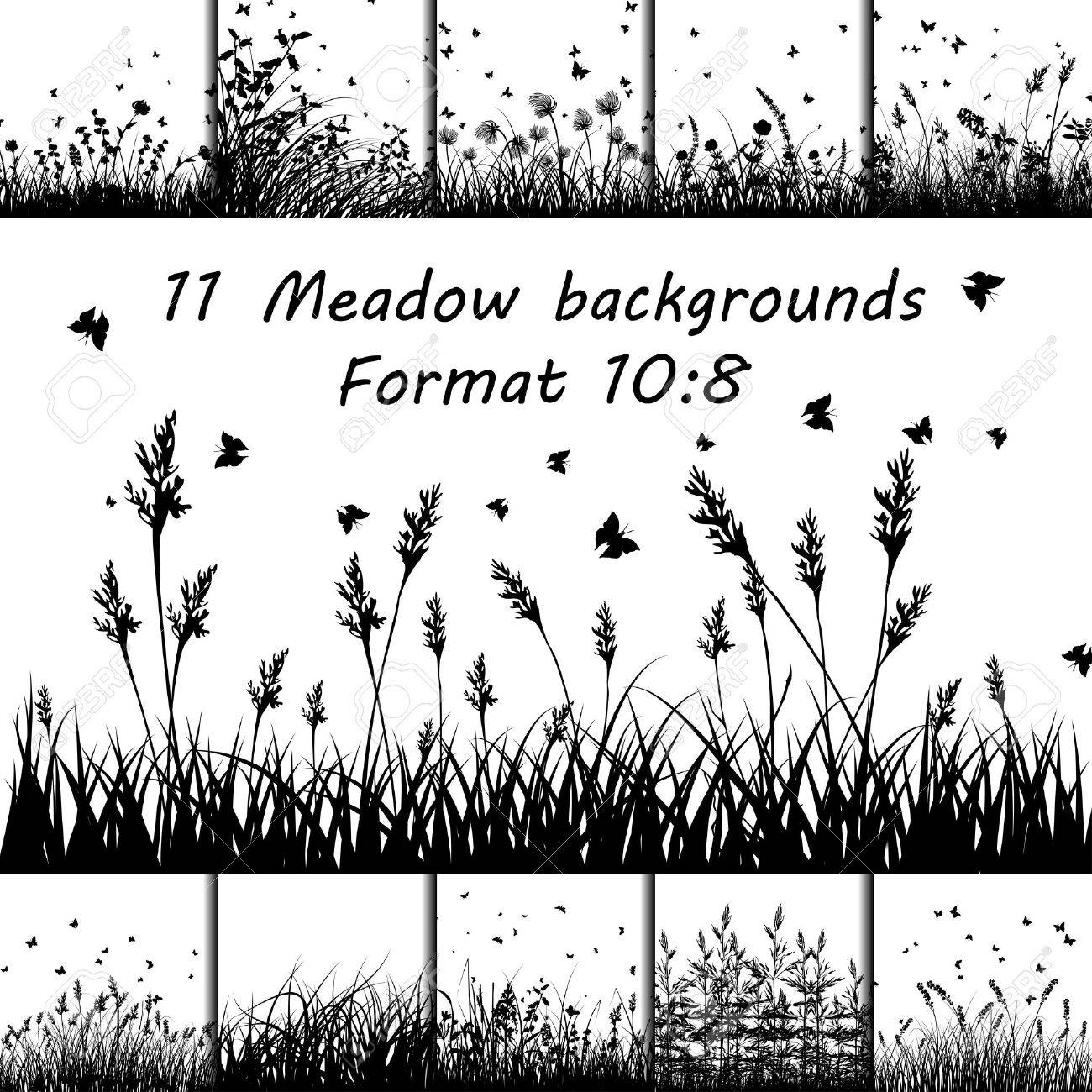 Set of Eleven Meadow backgrounds design with butterflies. - 43624370