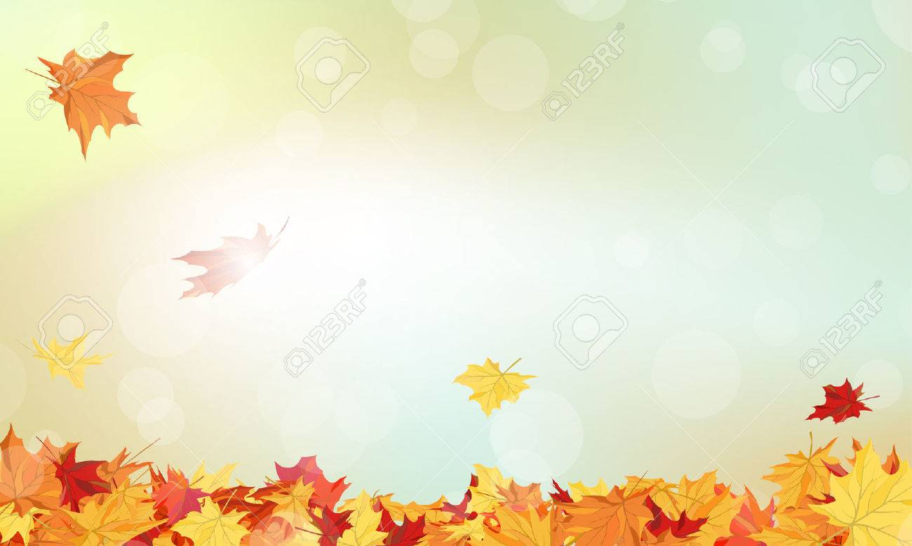 autumn frame with falling maple leaves on sky background royalty