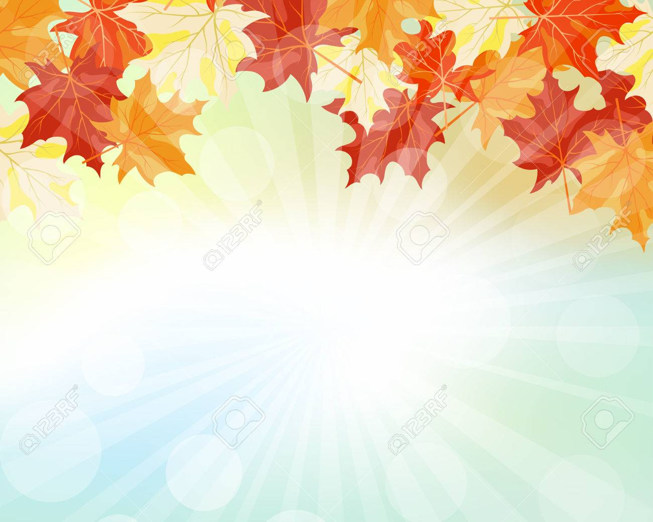 Autumn Frame With Falling Maple Leaves on Sky Background. Elegant Design with Rays of Sun and Ideal Balanced Colors. Vector Illustration. - 44382504