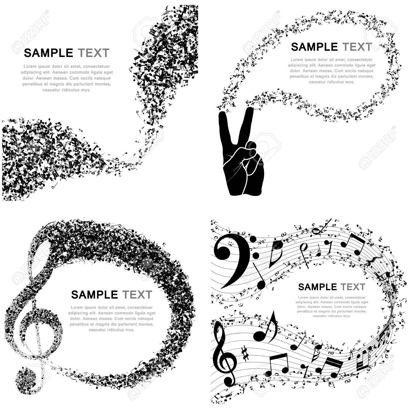 Set of Musical Design Elements From Music Staff With Treble Clef And Notes in Black and White Colors. Elegant Creative Design Isolated on White. Vector Illustration. - 44583899