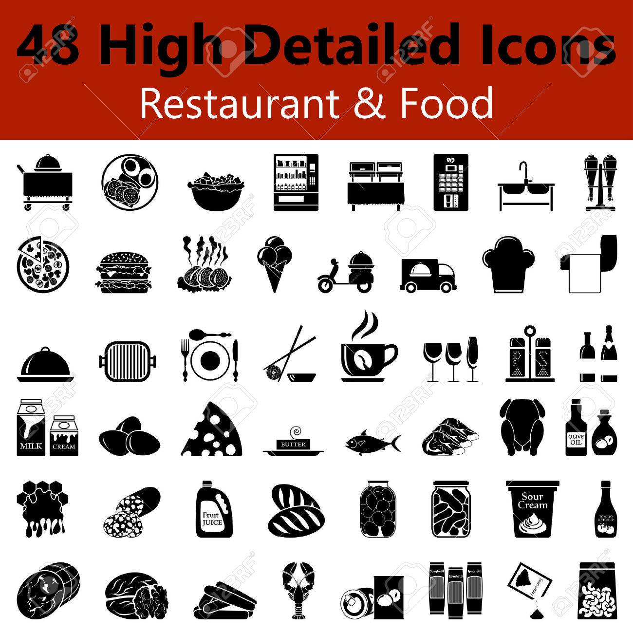 Set of High Detailed Restaurant and Food Smooth Icons in Black Colors - 44840290