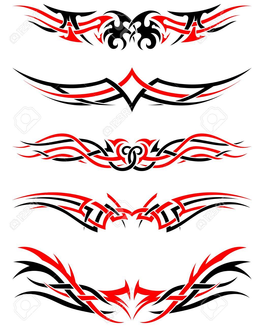 Conjunto De Tatuajes Tribales Indígenas En Colores Rojo Y Negro