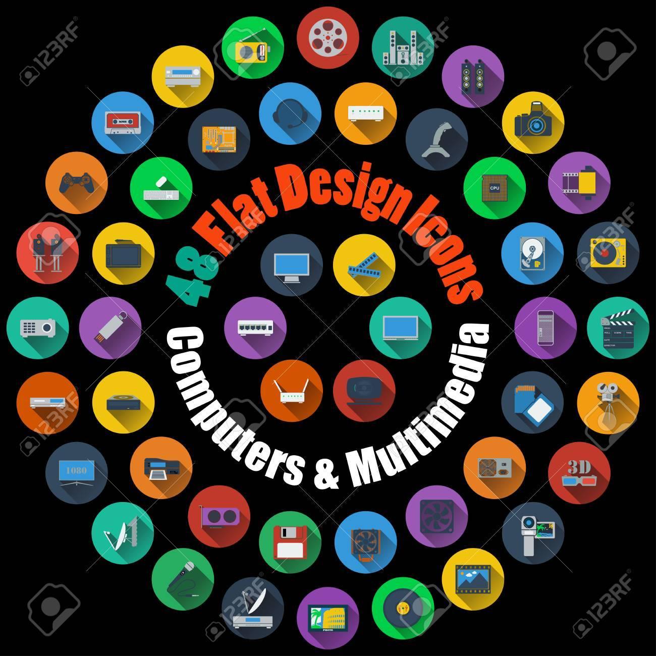 Ensemble De Haute Informatique Détaillée Et Multimédia Icônes Lisses à Flat Style Design Convient Pour Tous Les Types De Conception Page Web