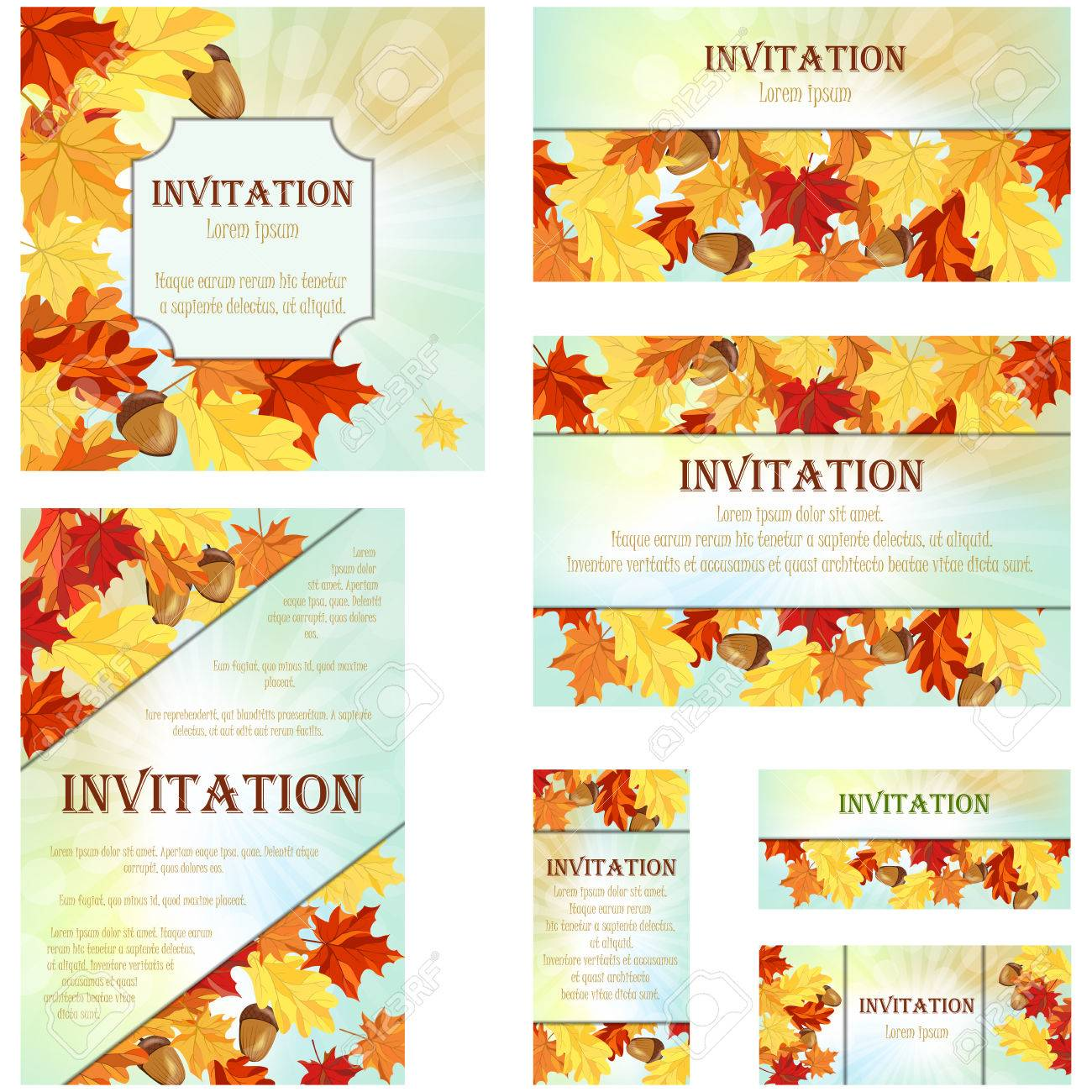 Set Of Invitation Cards In Different Size And Formats Elegant