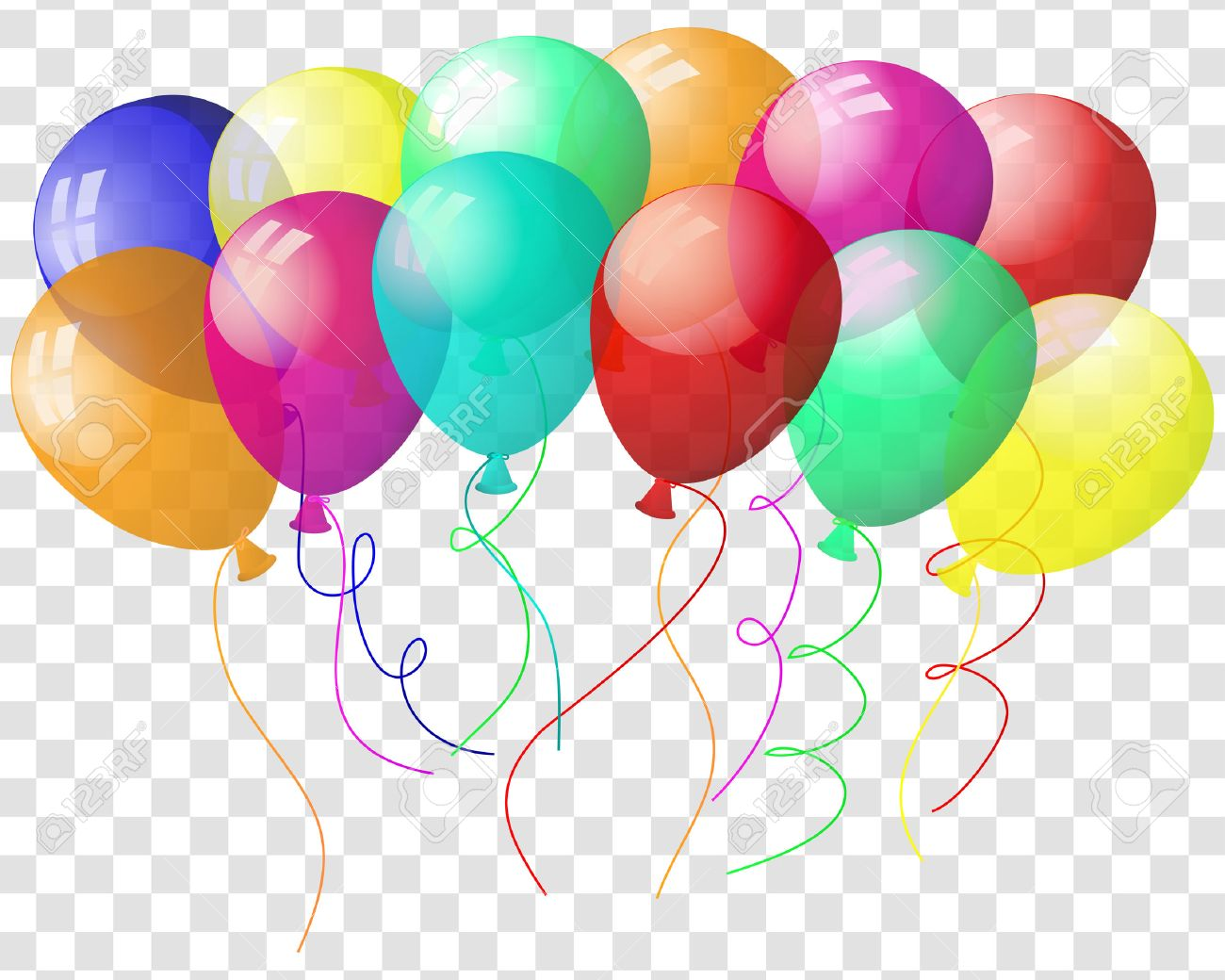 transparent colorful balloons in air on gray grid background