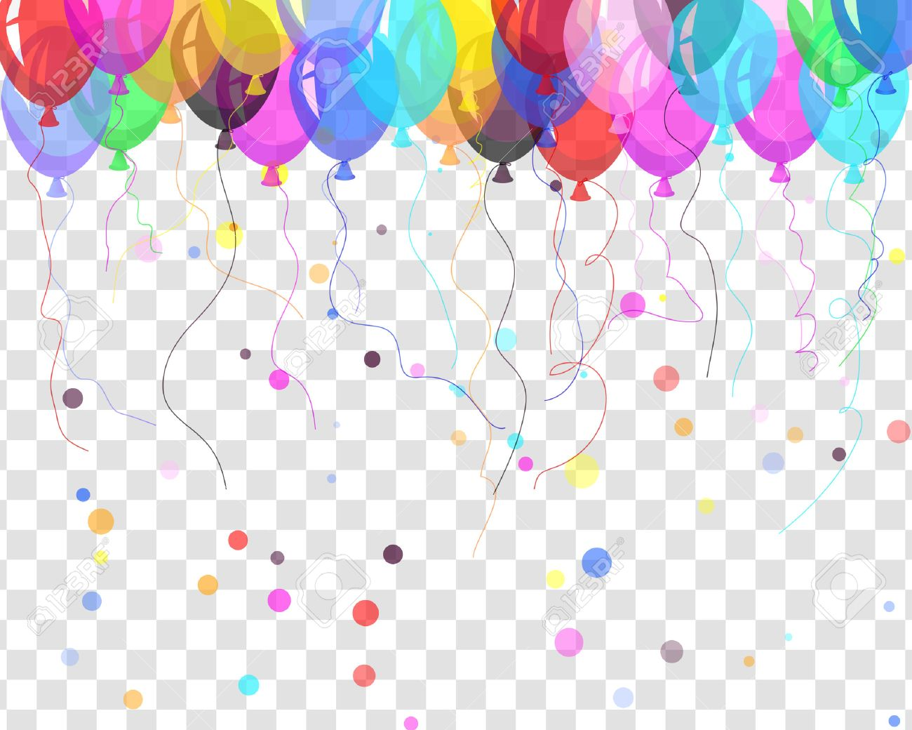 Transparent colorful balloons in air on gray grid background. Vector illustration. - 53410365