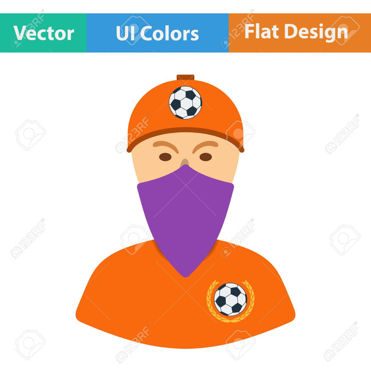 football fan clipart. football fan with covered face by scarf icon. flat design in ui colors. vector clipart