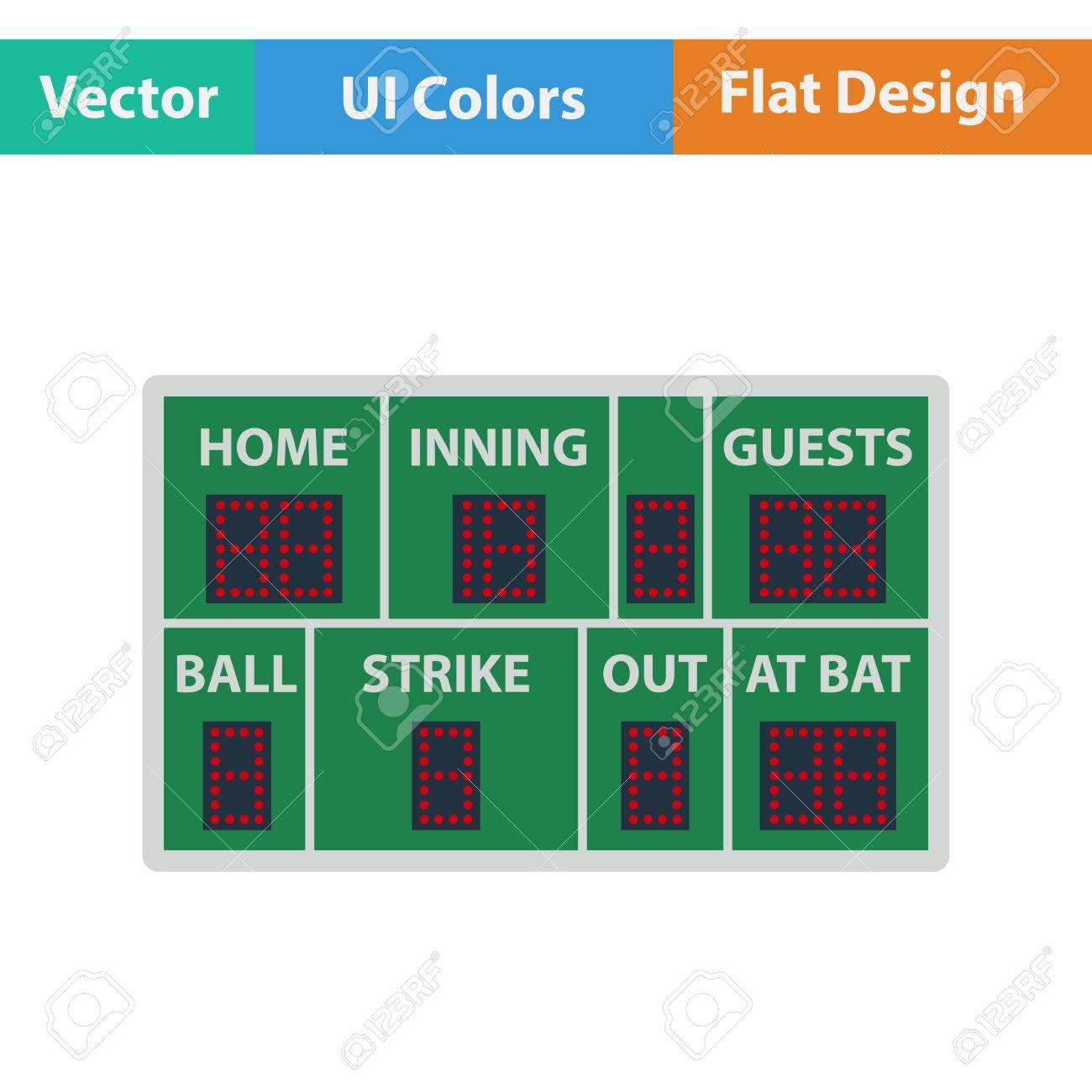 Baseball Scoreboard Icon. Flat Design. Vector Illustration ...