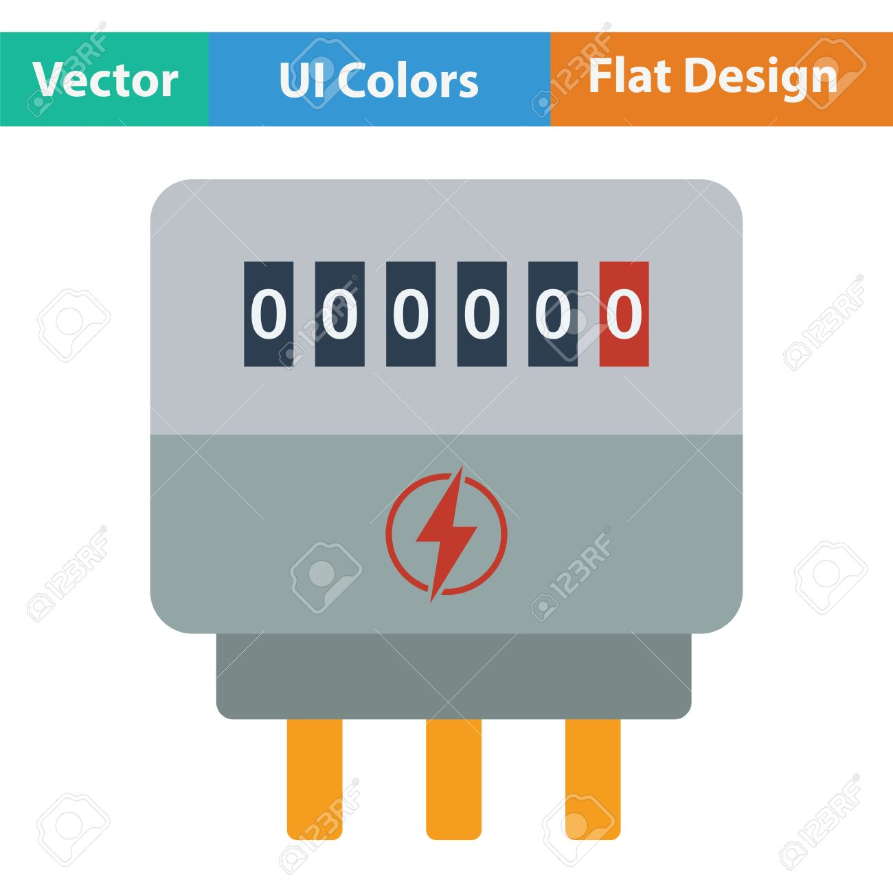 Electric Meter Icon Flat Color Design Vector Illustration