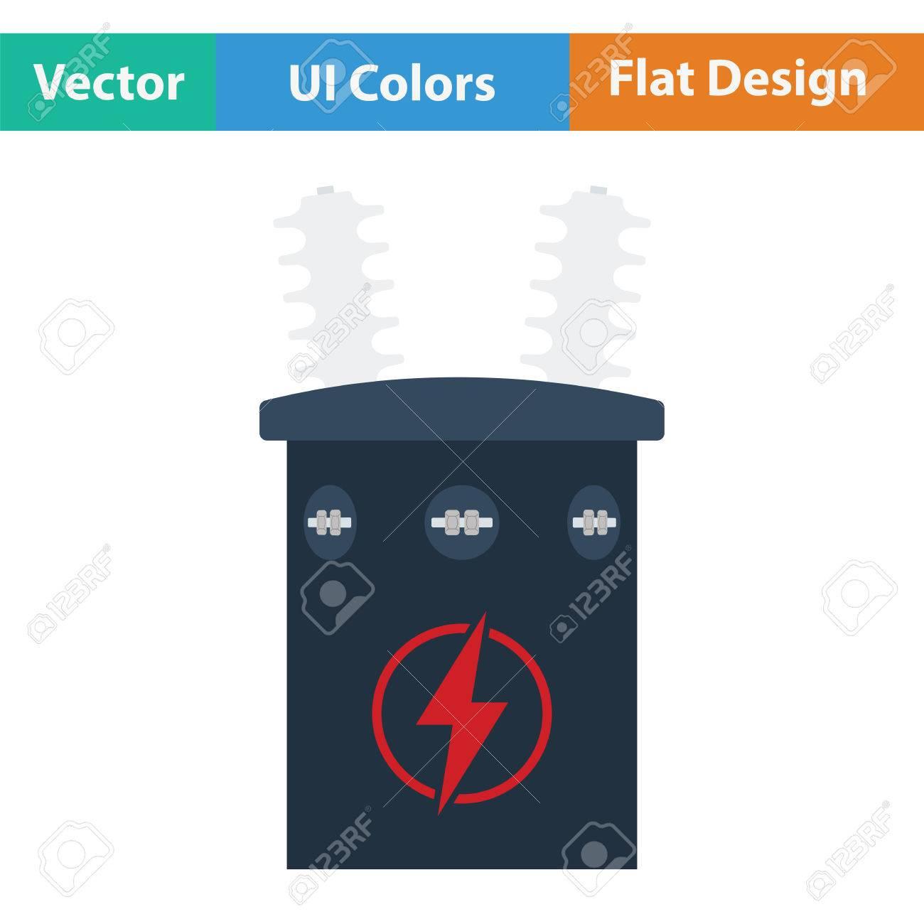 Electric Transformer Icon. Flat Design. Vector Illustration. Royalty ...