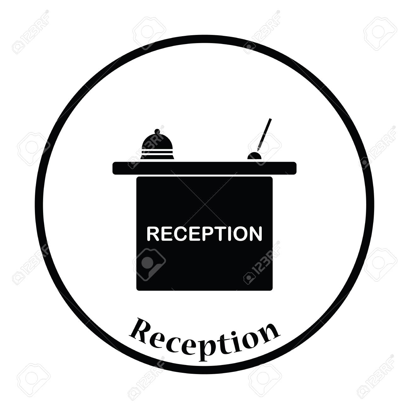 Hotel Reception Desk Icon Thin Circle Design Vector Illustration