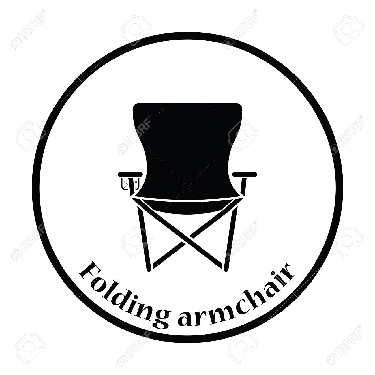 Surprising Icon Of Fishing Folding Chair Thin Circle Design Vector Illustration Caraccident5 Cool Chair Designs And Ideas Caraccident5Info