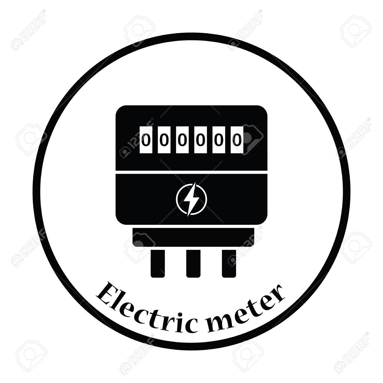 Electric Meter Icon. Thin Circle Design. Vector Illustration ...
