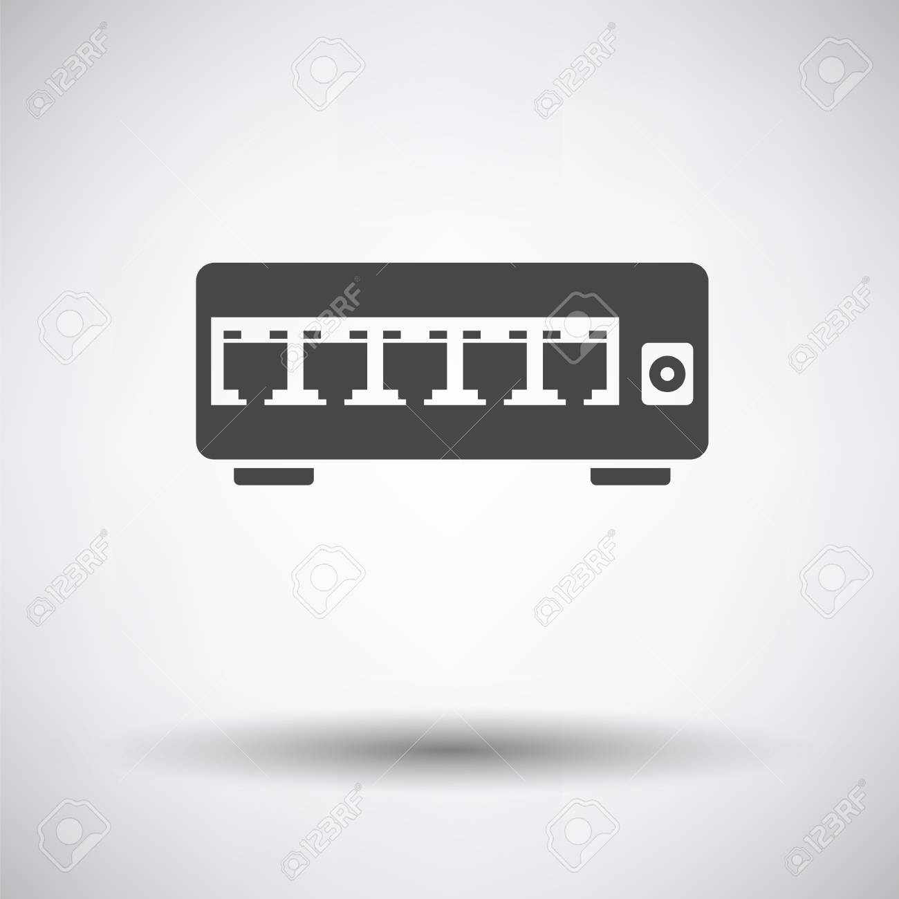 internet switch icon on gray background, round shadow. Vector illustration. - 59604637