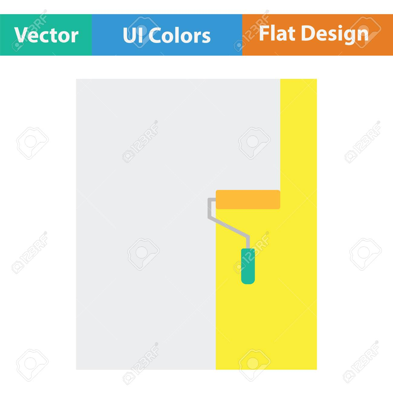 Wall Painting Icon Flat Color Design Vector Illustration