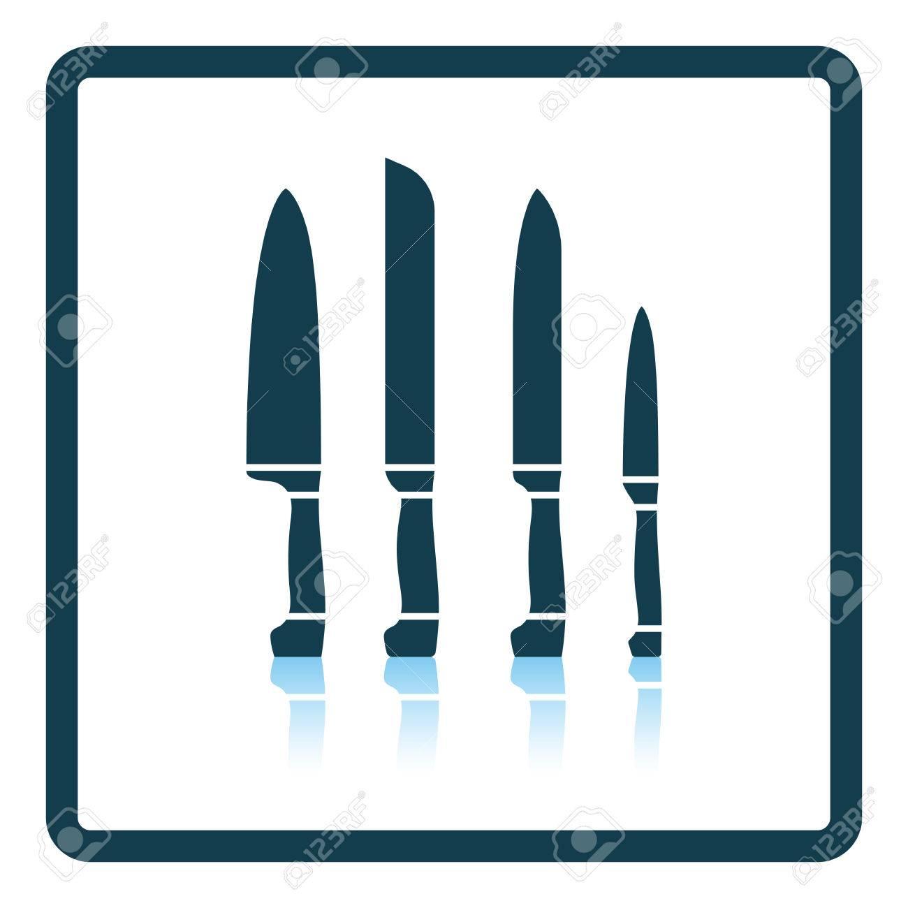 Küchenmesser Set Icon. Schattenreflexion Design. Vektor-Illustration ...