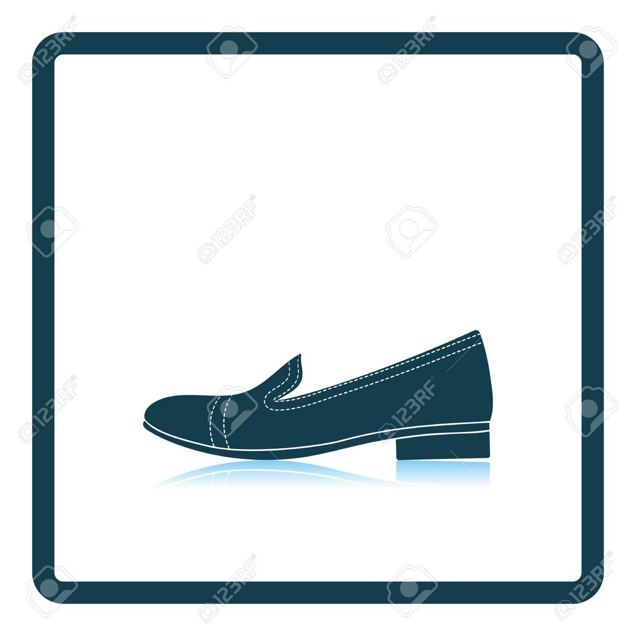Icono de zapato de tacón mujer. Diseño de reflexión de la sombra. Ilustración vectorial