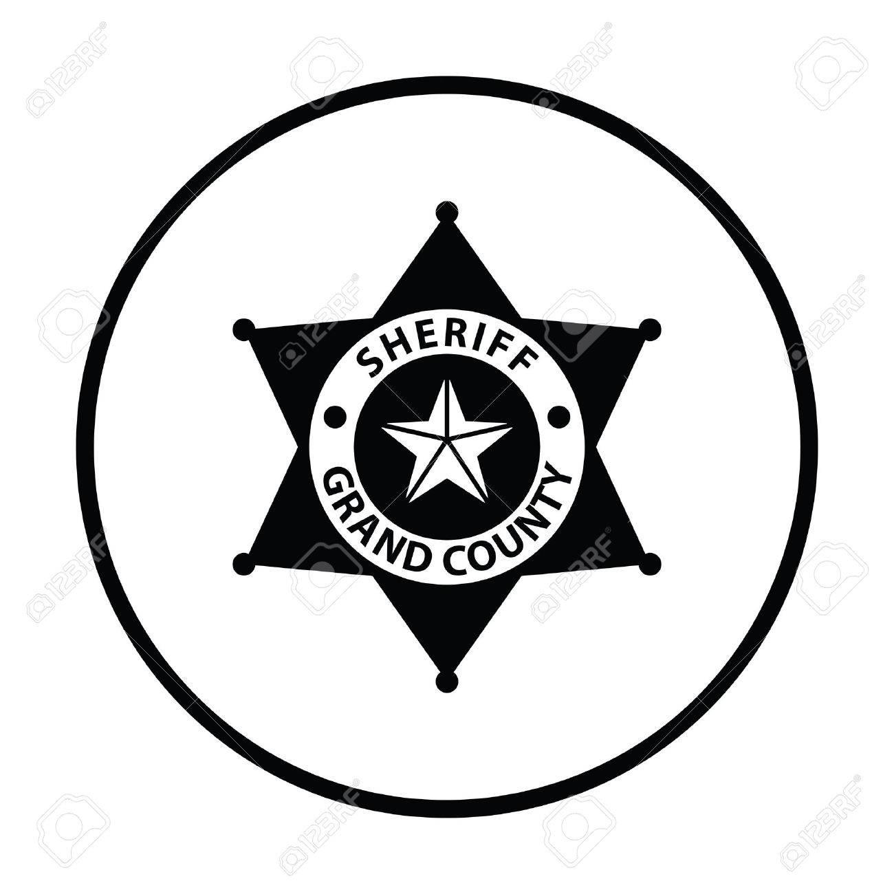 Sheriff badge icon. Thin circle design. Vector illustration. - 60984312