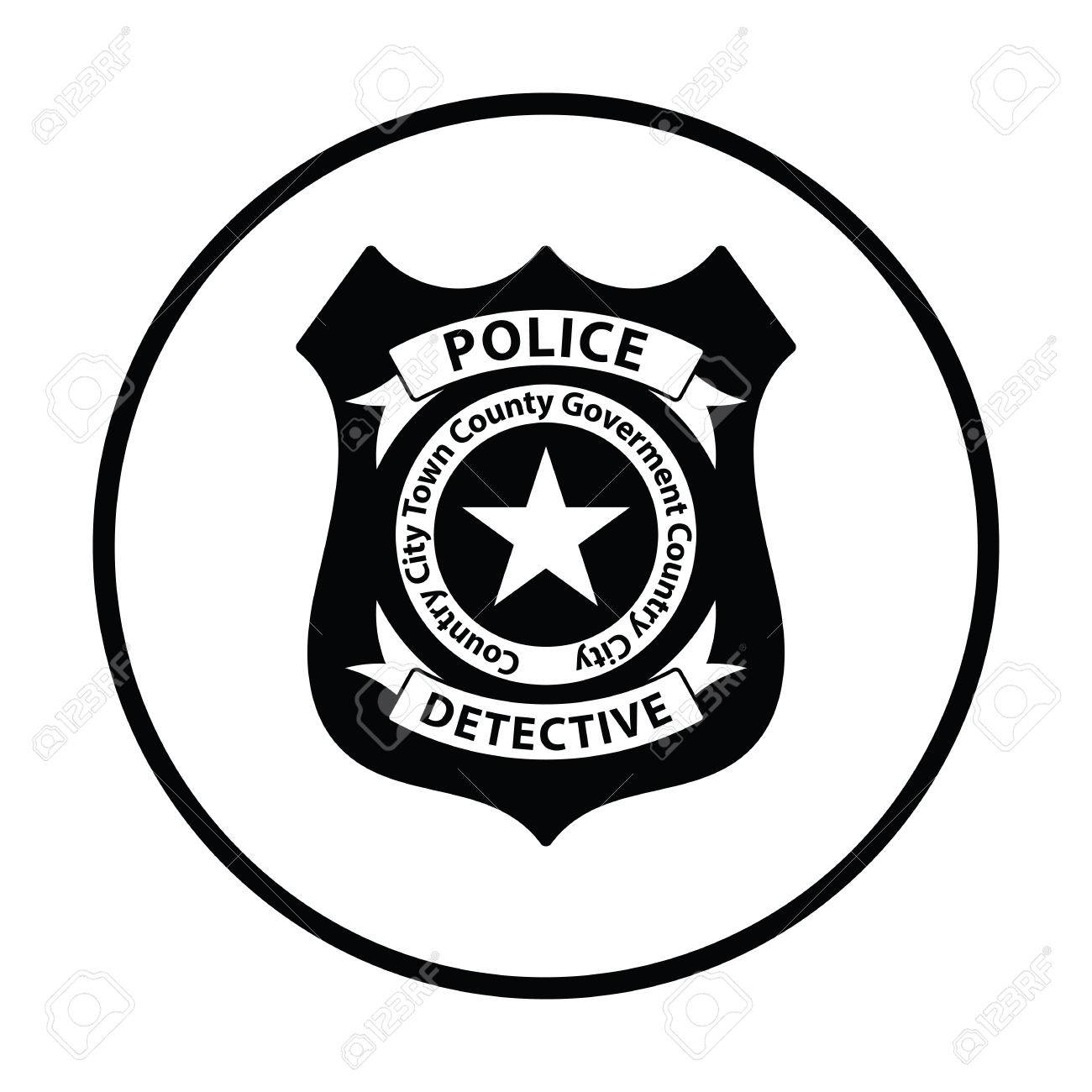 police badge icon thin circle design vector illustration royalty rh 123rf com police badge vector art free police badge vector free download