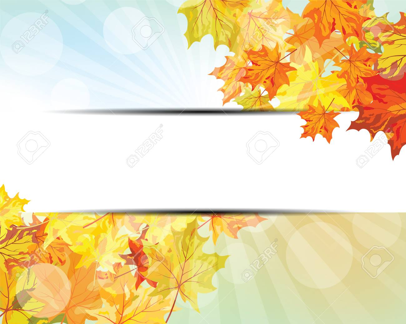 Autumn Frame With Falling Maple Leaves On Sky Background. Elegant Design  With Rays Of Sun