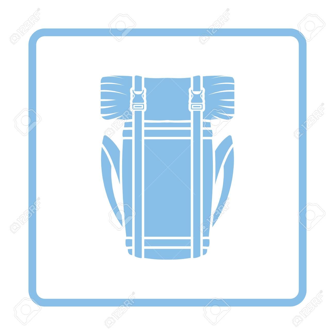 Acampar Icono De La Mochila. Diseño Del Marco Azul. Ilustración Del ...