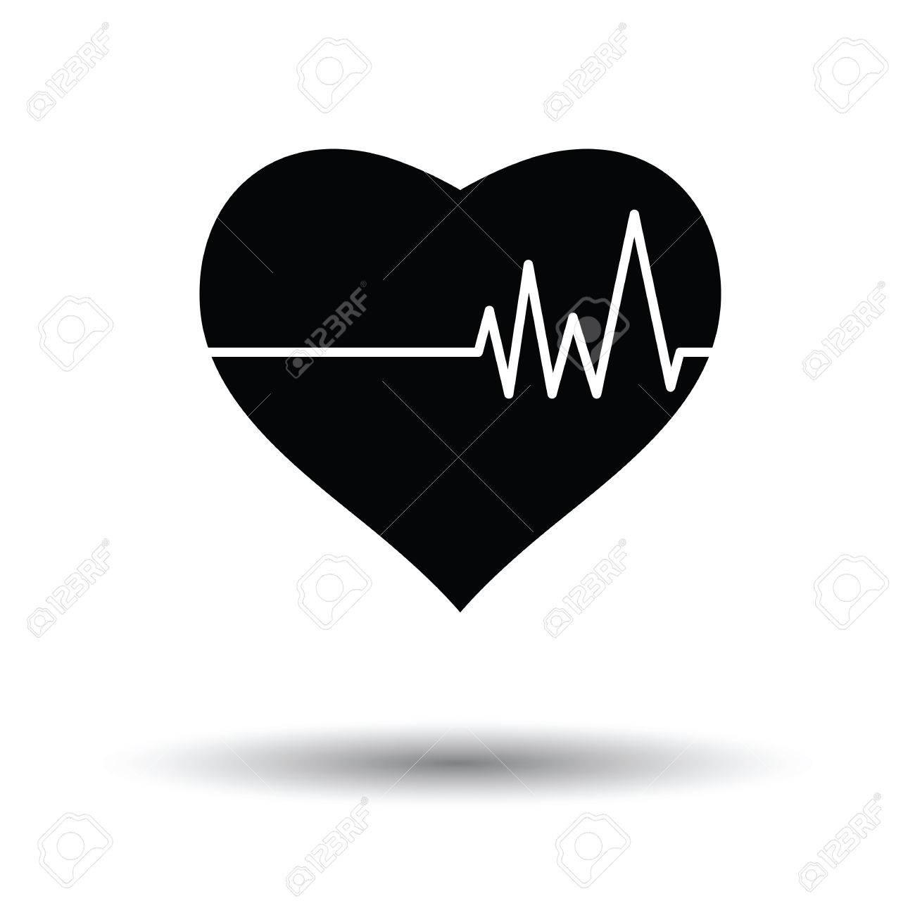 Corazón Con El Icono Del Diagrama De Cardio. Fondo Blanco Con El ...