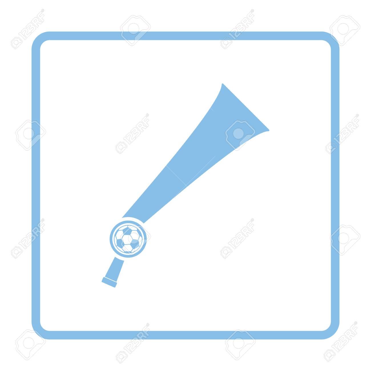 Fußball-Fans Wind Horn Spielzeug-Symbol. Blau-Rahmen-Design. Vektor ...