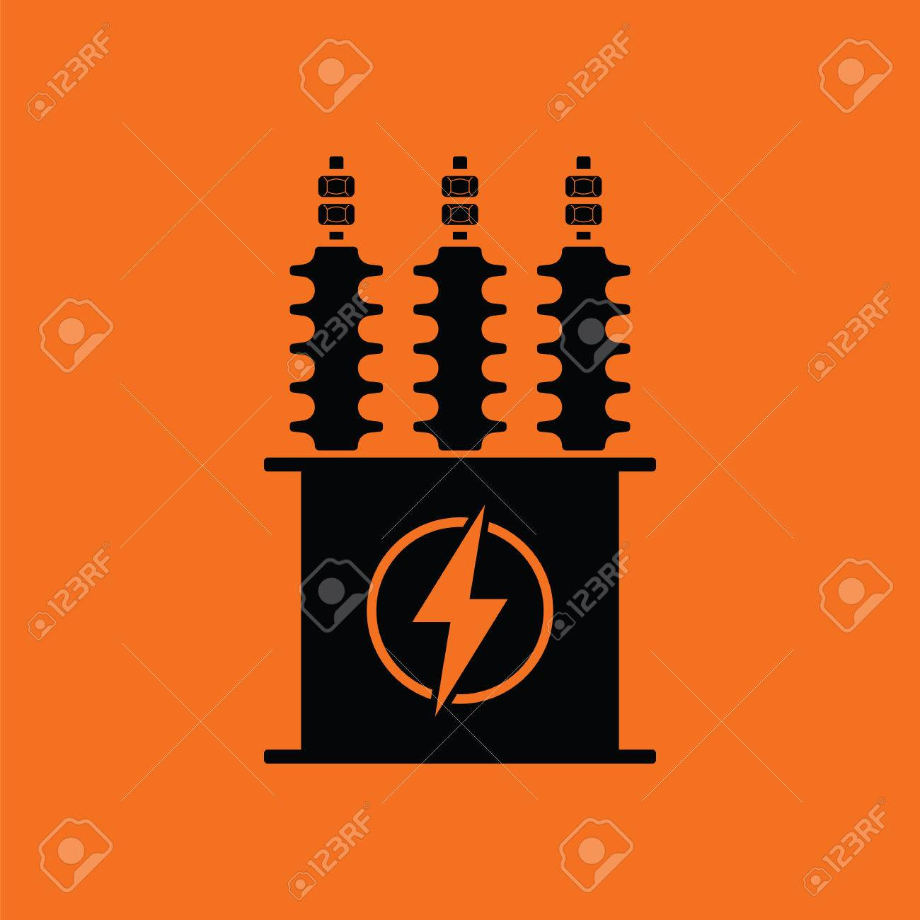 Electric Transformer Icon. Orange Background With Black. Vector ...