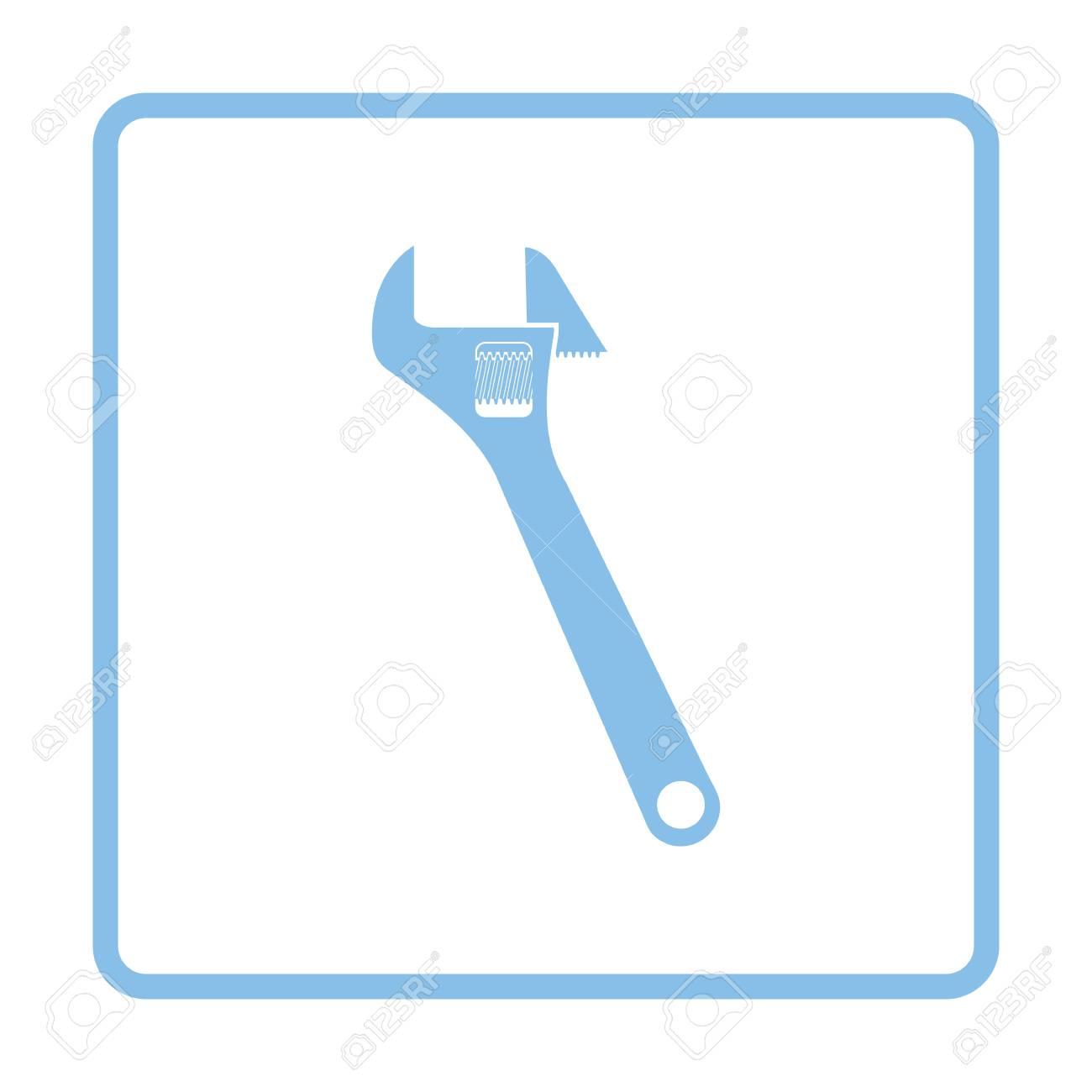 Icono De Llave Inglesa Ajustable. Diseño Del Marco Azul. Ilustración ...