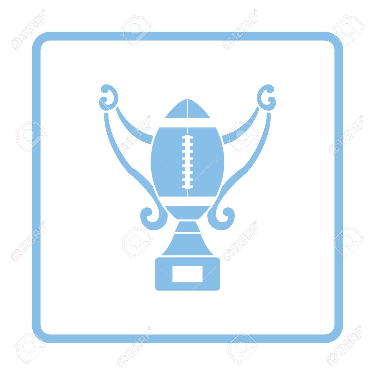 American Football Trophy Cup Icon Blue Frame Design Vector Illustration Stock