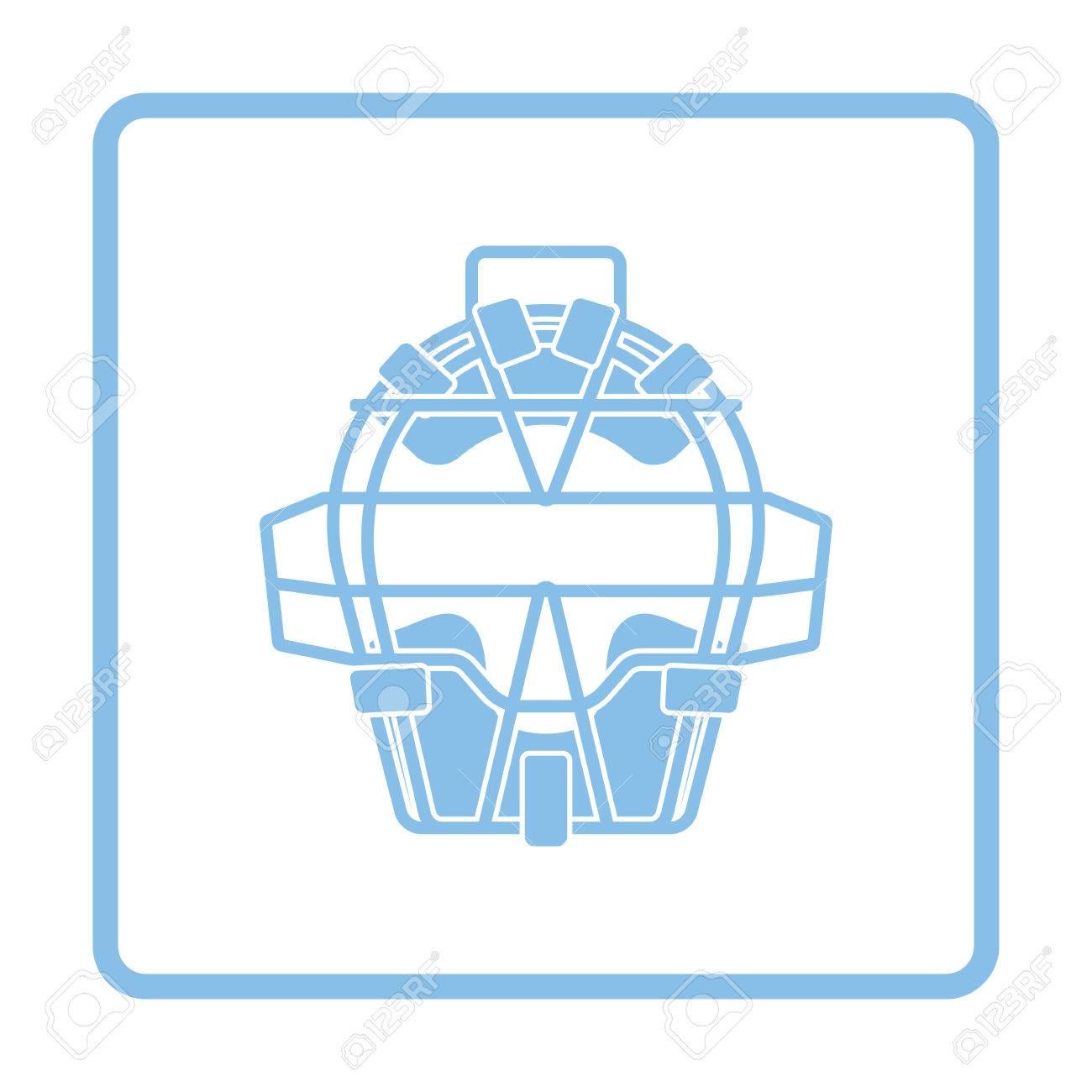 La Cara De Béisbol Icono Protector. Diseño Del Marco Azul ...