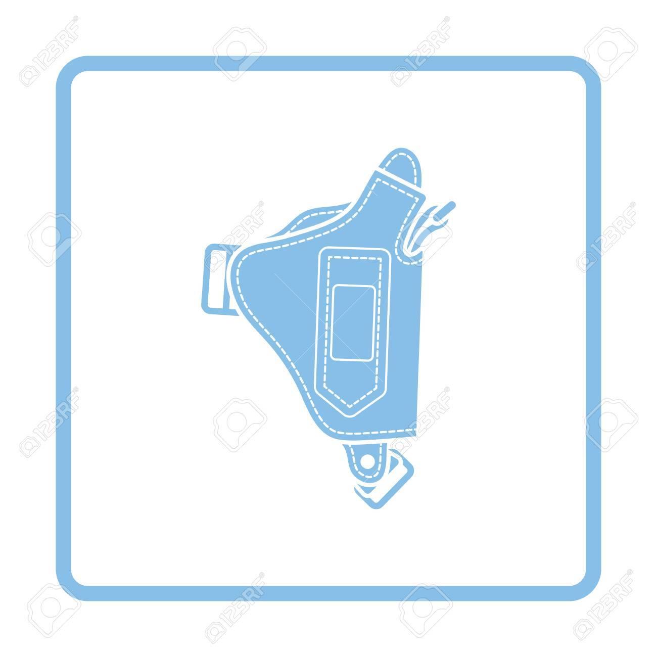 Police Holster Gun Icon. Blue Frame Design. Vector Illustration ...