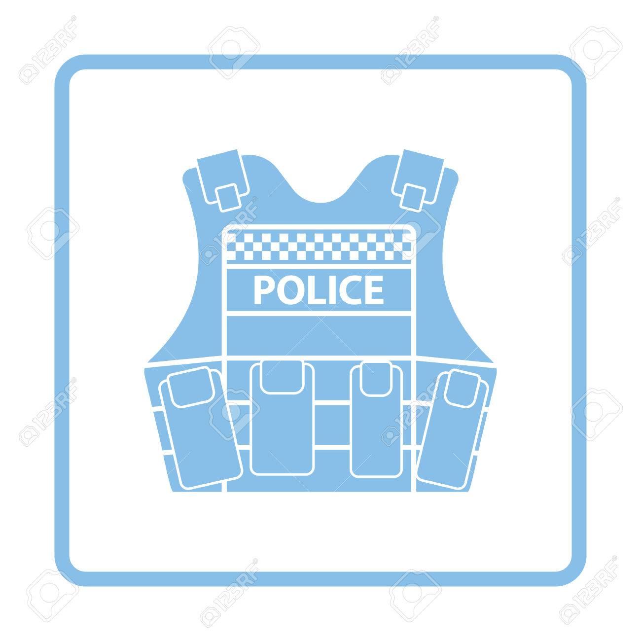 Icono De Chaleco De Policía. Diseño De Marco Azul. Ilustración ...