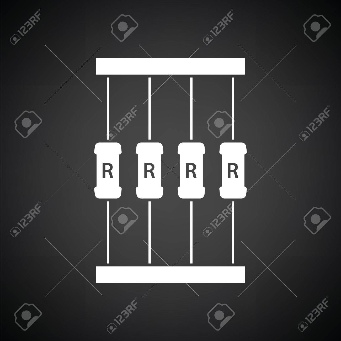 Resistor Tape Icon. Black Background With White. Vector Illustration ...