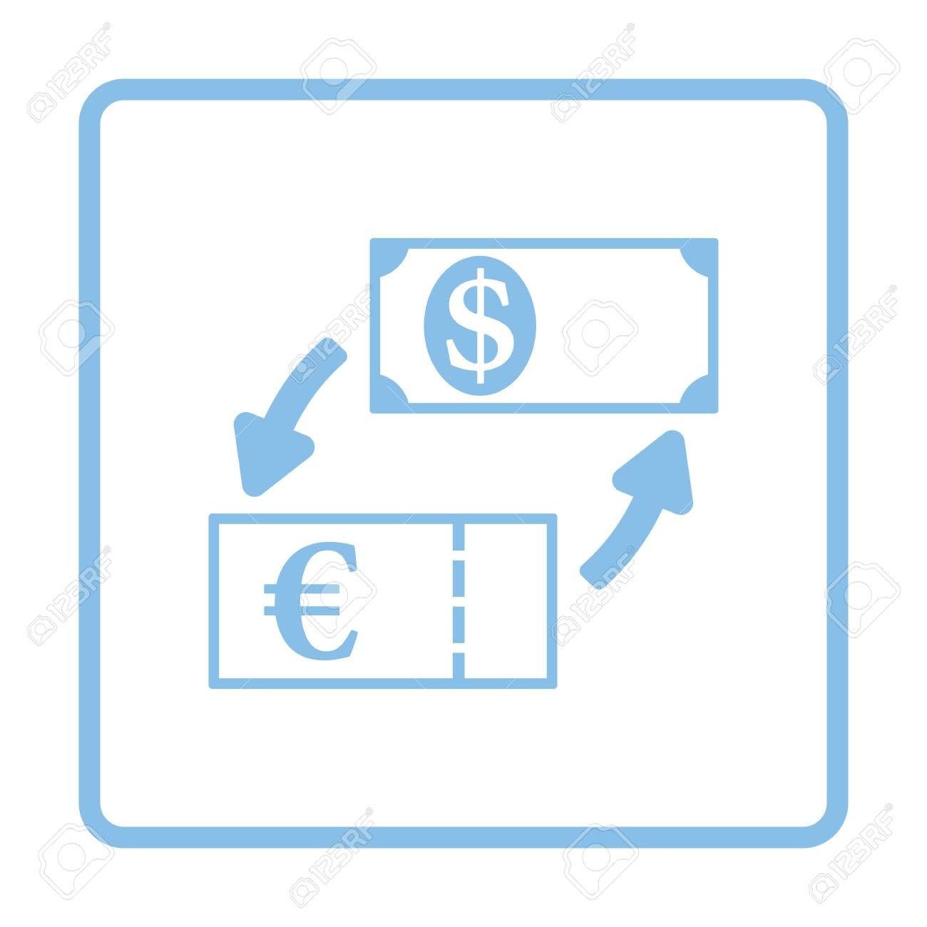 Moneda Dólar Y Euro Icono De Cambio. Diseño De Marco Azul ...