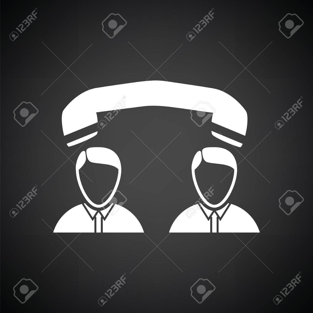 illustration conversation telephonic entre blanc et noir