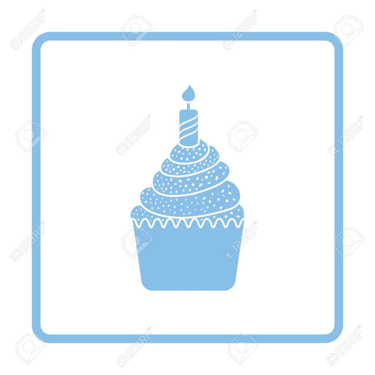 En Primer Icono De La Tarta De Cumpleaños. Diseño Del Marco Azul ...