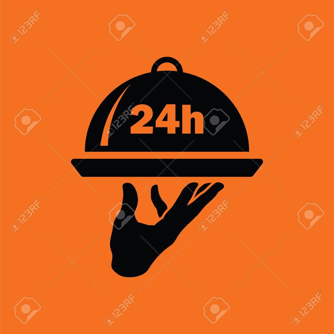 24 heures icône de service en chambre. Orange fond noir. Vector  illustration.