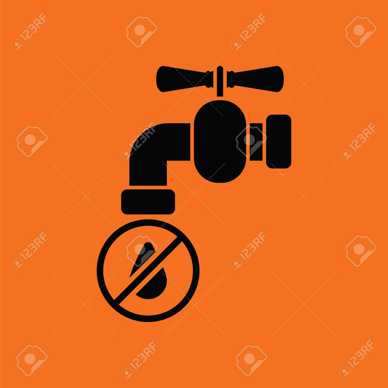 Water Faucet With Dropping Water Icon. Orange Background With ...