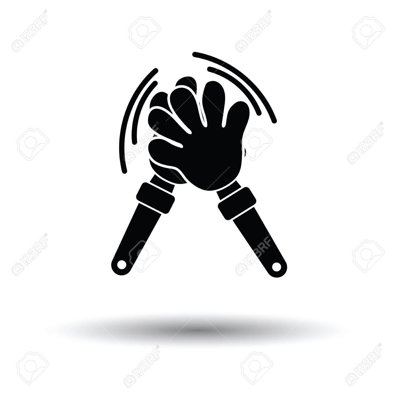 Football fans clap hand toy icon. White background with shadow design. Vector illustration. - 68714788