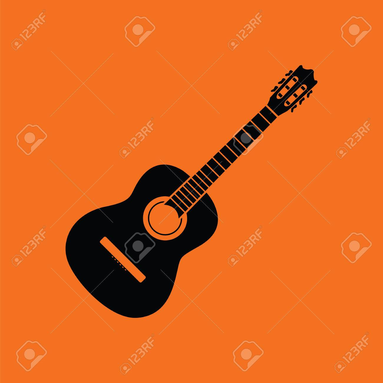Acoustic Guitar Icon Orange Background With Black Vector