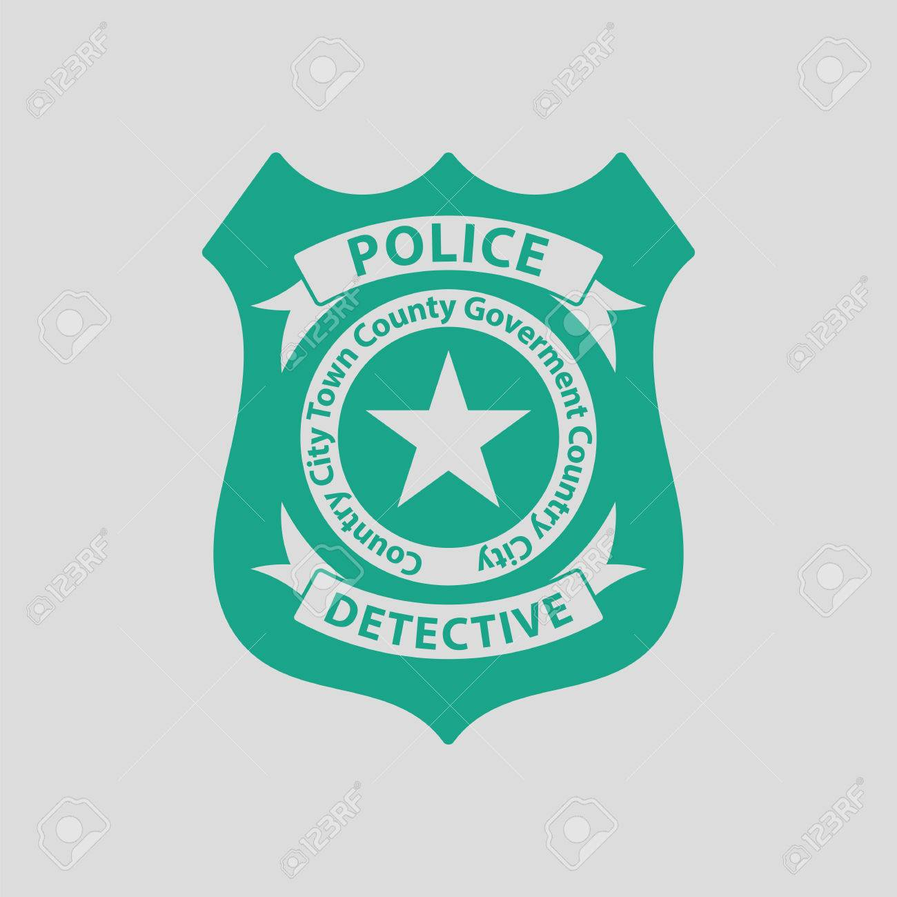 Police Badge Icon Gray Background With Green Vector Illustration